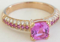 Custom 2.61 ctw Cushion Pink Sapphire and Diamond Engagement Set in 14k
