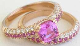 Rose Gold Pink Sapphire Pave Diamond Engagement Ring and Wedding Band