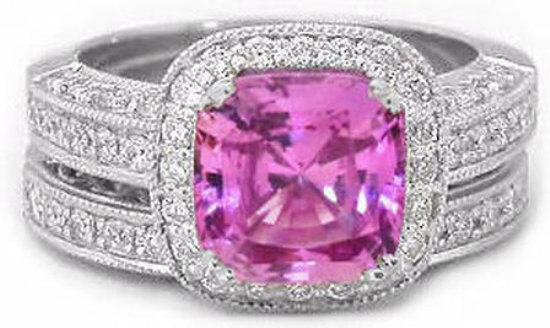Natural Pink Sapphire Engagement Ring and Wedding Band Set