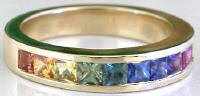 Princess Cut Rainbow Sapphire Ring in 14k Yellow Gold