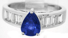 Pear Shape Ceylon Blue Sapphire and Diamond Ring in 14k white gold