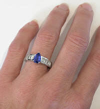 Fine Quality Pear Shape Ceylon Blue Sapphire and Diamond Ring in 14k white gold