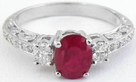 1.59 ctw Burmese Ruby and Oval Diamond Ring in 14k white gold