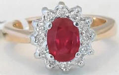 1.80 ctw Oval Ruby and Diamond Ring in 14k white and yellow gold