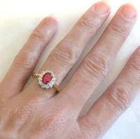 Naturall Ruby and Diamond Ring in 14k white and yellow gold