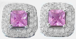 Princess Cut Pink Sapphire and Pave Diamond Earrings in 14k white gold