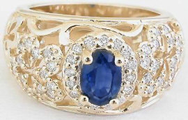 Flower Power ctw Oval Sapphire and Diamond Ring 14k yellow gold