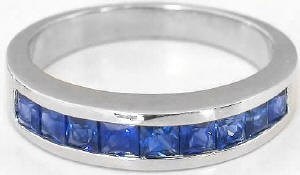 1.20 ctw Princess Cut Blue Sapphire Band in 14k white gold
