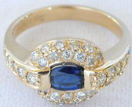 East West Set 1.32 ctw Oval Sapphire and Pave Diamond Ring in 14k yellow gold