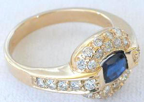 East West Set Sapphire Pave Diamond Ring in 14k yellow gold