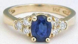 Classic Sapphire Diamond Ring in 14k yellow gold