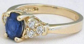 Classic Blue Sapphire and Diamond Ring in 14k yellow gold