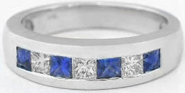 Men's Sapphire and Diamond Wedding Band in 14k