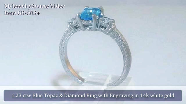 Past Present Future Antique Engraved Swiss Blue Topaz And Diamond Engagement Ring Matching Wedding Band In 14k White Gold Gr 6054