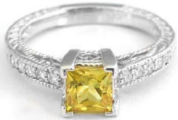 Vintage Princess Cut Yellow Sapphire and Diamond Ring in 14k white gold