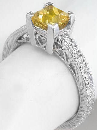 24 ctw Yellow Sapphire and Diamond Ring in 14k white gold